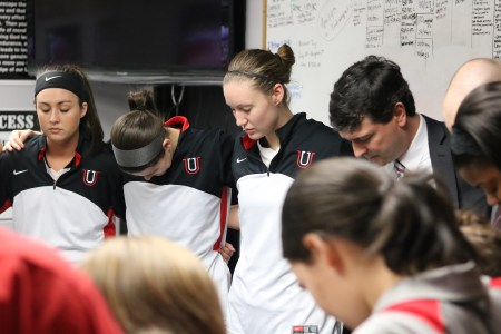 Lady Bulldogs pray before Monday's game. | Photo by Natalie Smith
