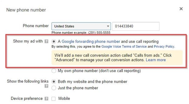 Call Tracking, Google Adwords