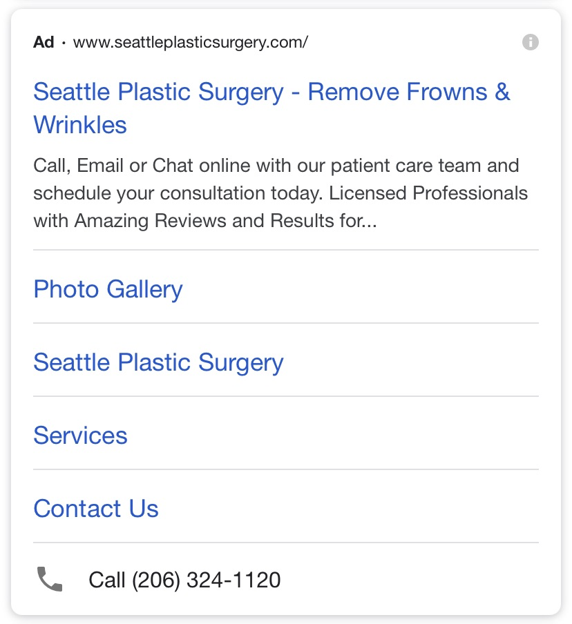 Plastic surgery PPC ad optimized for mobile search