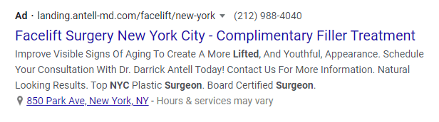 Optimize ad copy for plastic surgery PPC ad