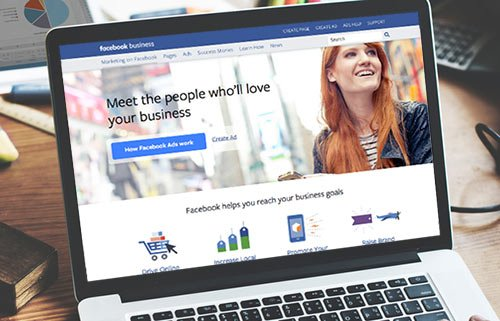 Facebook ads landing page on laptop