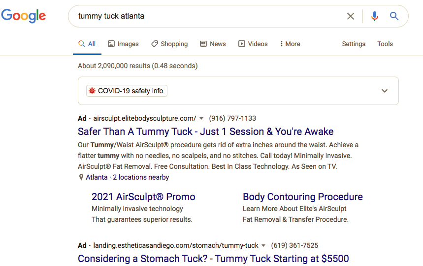 What Plastic Surgery PPC ads look like on Google