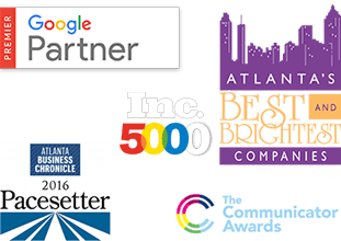 Google Certified Premier Partner, Inc. 5000. Atlanta Business Chronicle Pacesetter, Best and Brightest companies to Work For, Communicator Awards