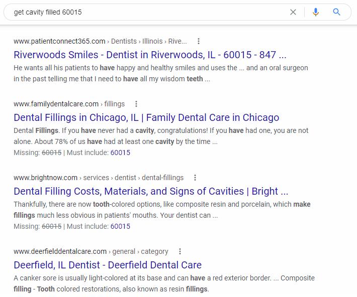 location-based keywords for dental practices