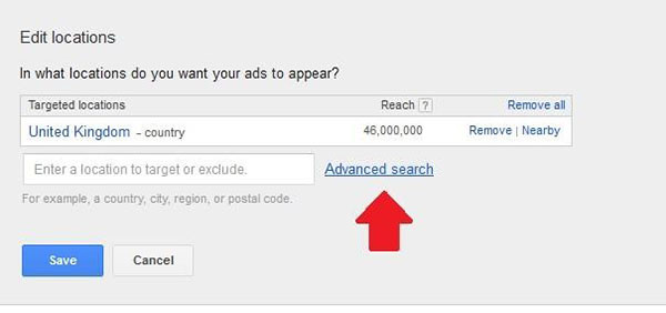 adwords country advanced search