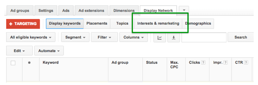 adwords interests and remarketing
