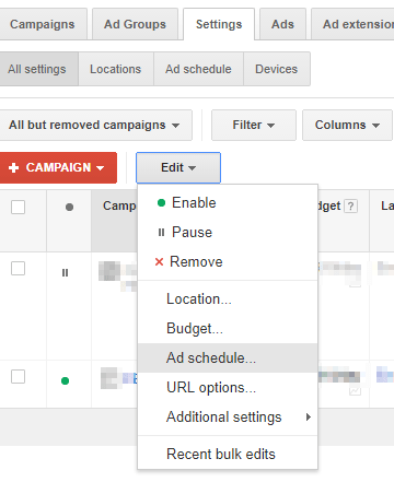 adwords schedule edit