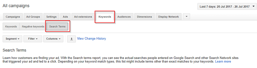 gpogle adwords search terms keywords