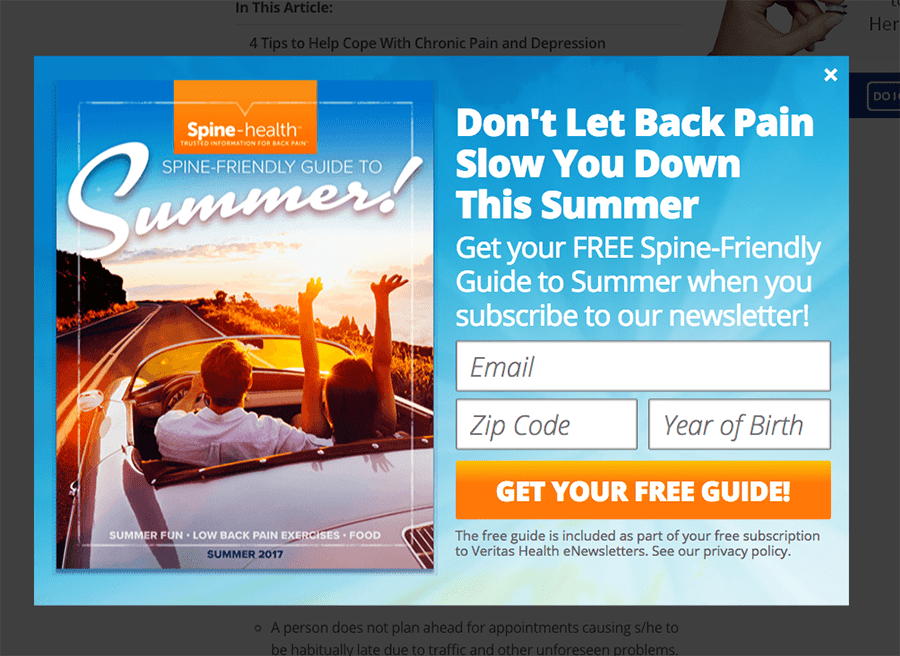 back pain website ad