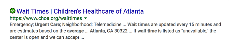 childrens healthcare of atlanta google result