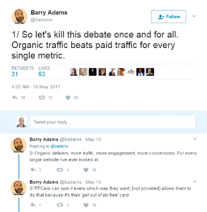 twitter post organic vs paid results