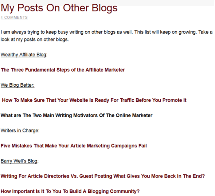 example of posts on other blogs