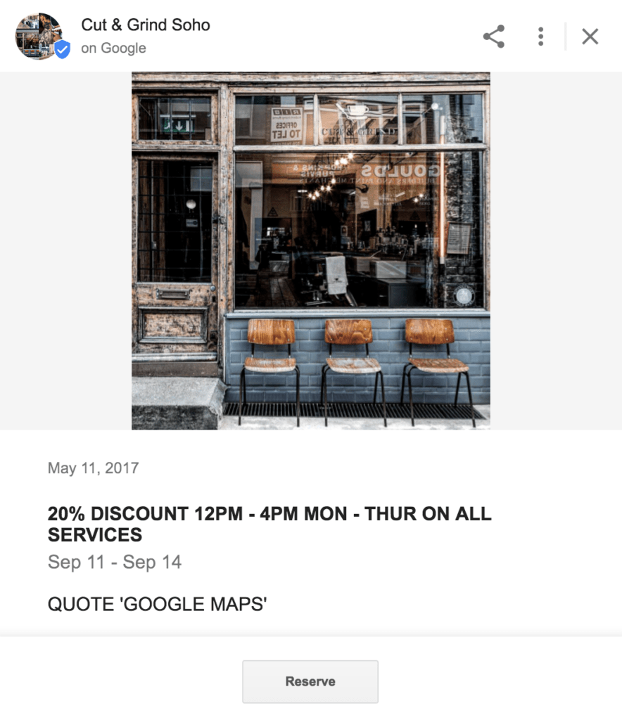 A Local Business Google Post with SAVE NOW approach