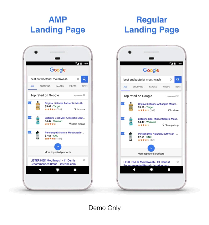 Comparing AMP Landing Page vs Regular Page