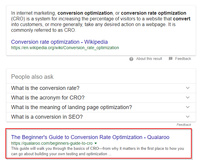 Conversion Rate Optimization post ranked on google right after wikipedia post