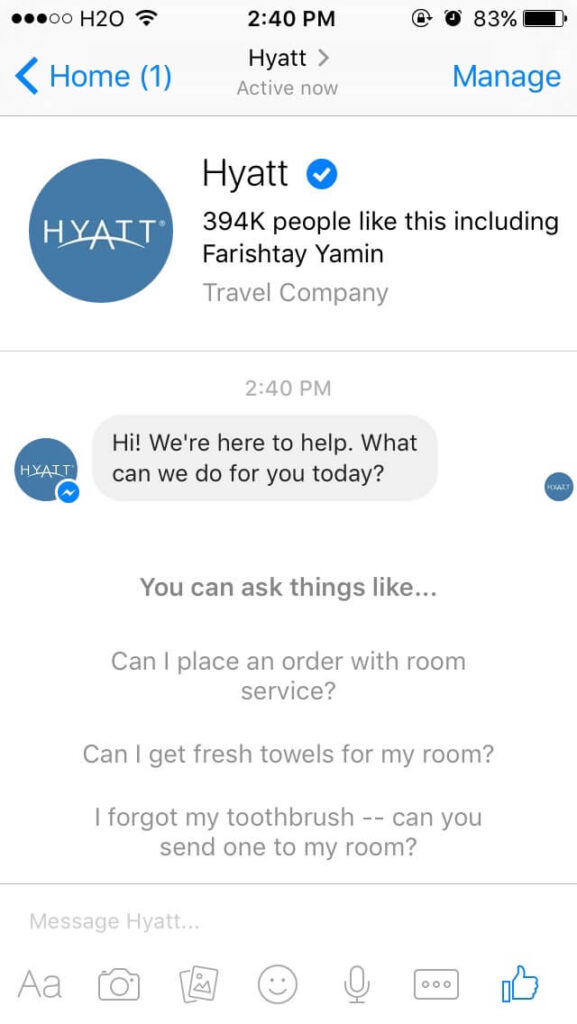 Hyatt uses Facebook Messenger to interact with its guests