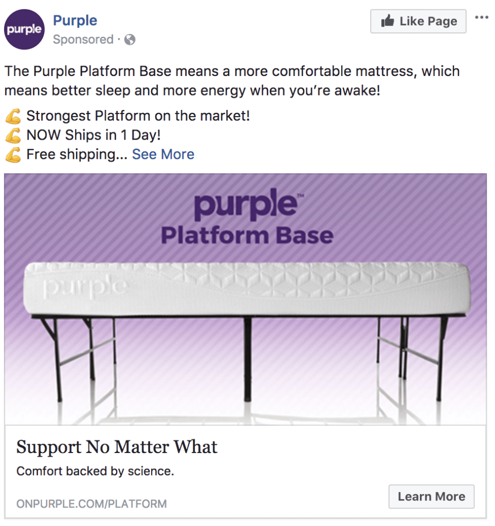Example of a usual facebook ad with an image