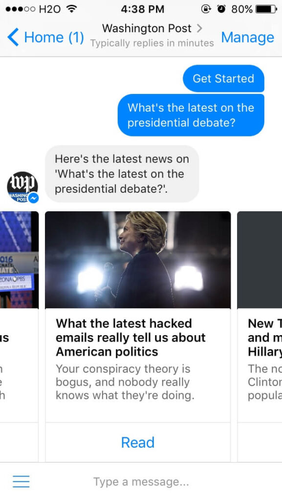 Washington Post ask question bot