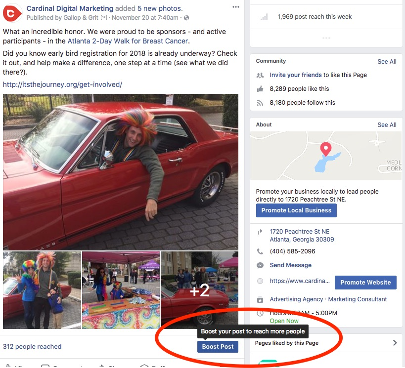 Use boost post option to target certain audience with your facebook post