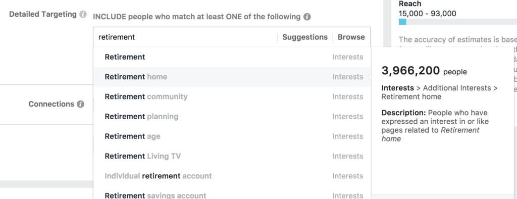 Facebook audience targeting keyphrase suggestion tool