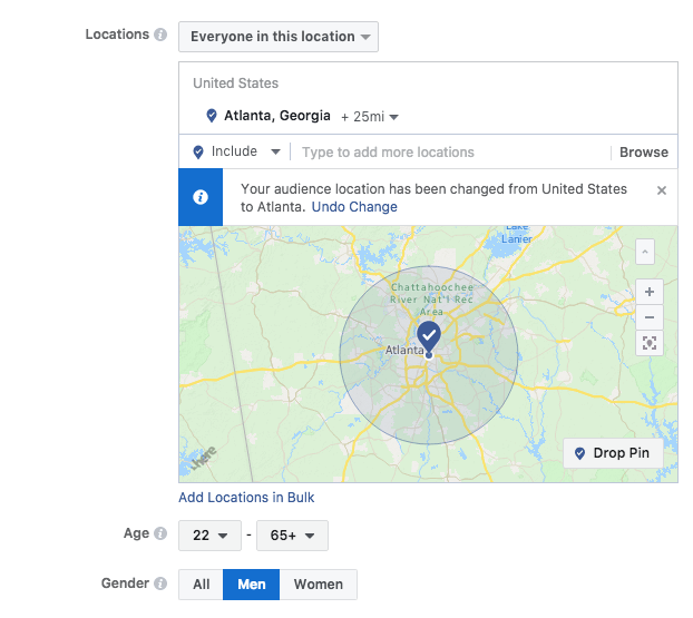 Target the right audience with facebook ad with filters for age, gender and location