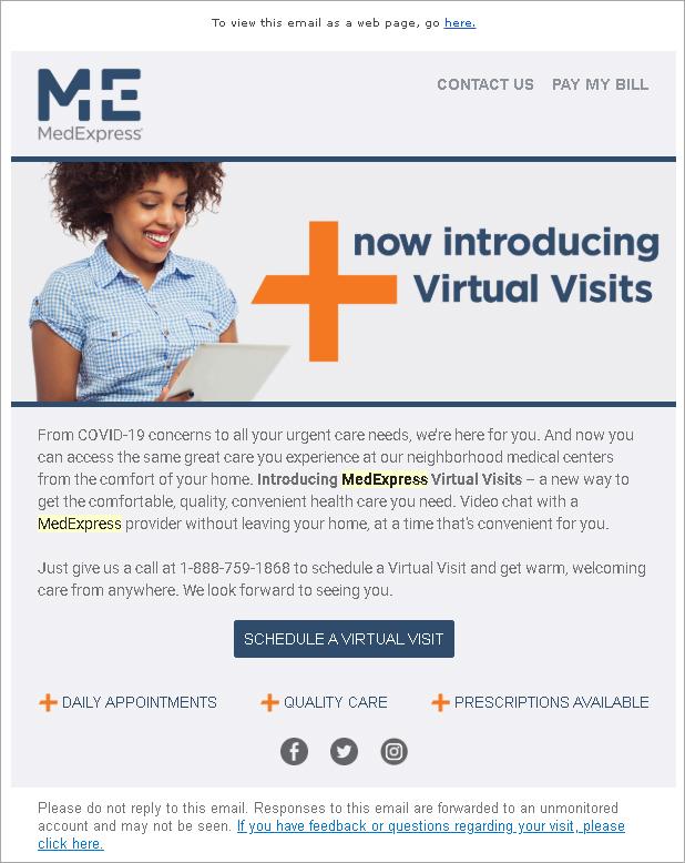 telehealth marketing email