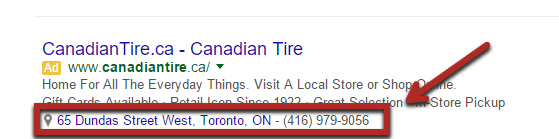 Use adwords location extension to add location related information to your ad