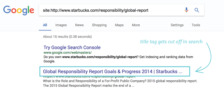 Keep your meta title short for better visibility in search engines results