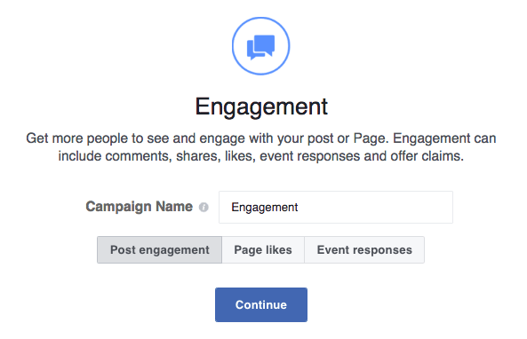 Use engagement objective when you want more people to engage with your facebook ad