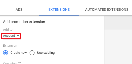 Add Promotion Extenson to Google AdWords Campaign