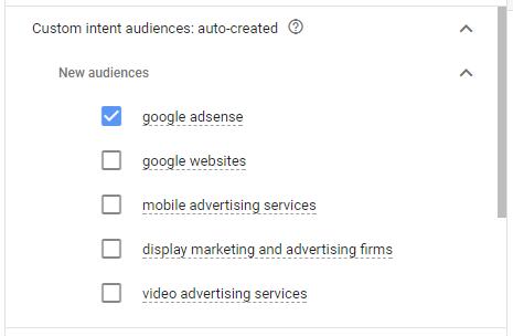Use Google AdWords option to auto create custom intent audience