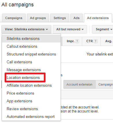 How to add location extension to google adwords - first step