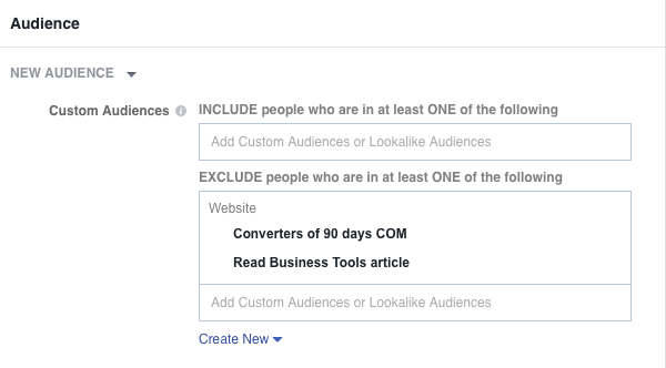 Exclude Converted Audience from Targeted Audience
