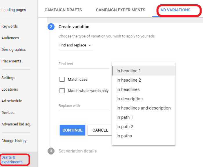 Use Ad Variations to test your google adwords performance when displaying different call to actions and headings