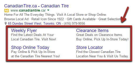 Google AdWords with Sitelink Extension Implemented