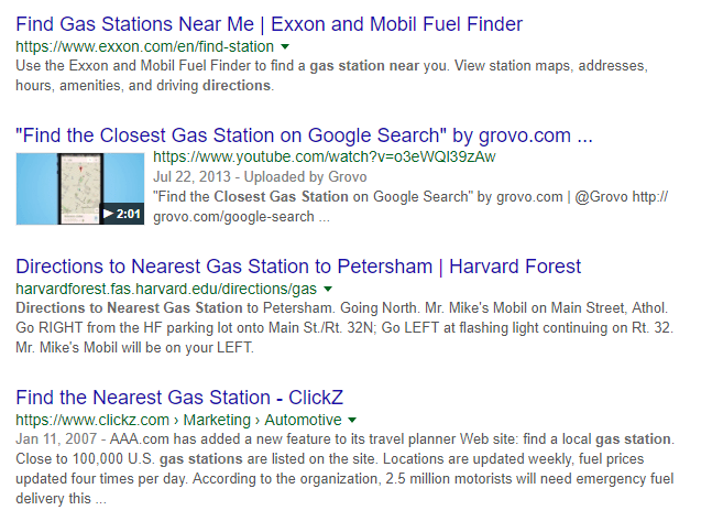 "SERP showing samples of companies optimizing websites for ""near me"" search"