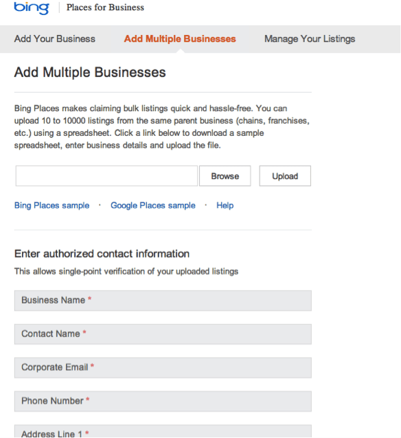Adding Multiple Businesses on Bing