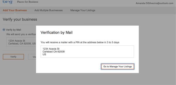 Business Verification on Bing