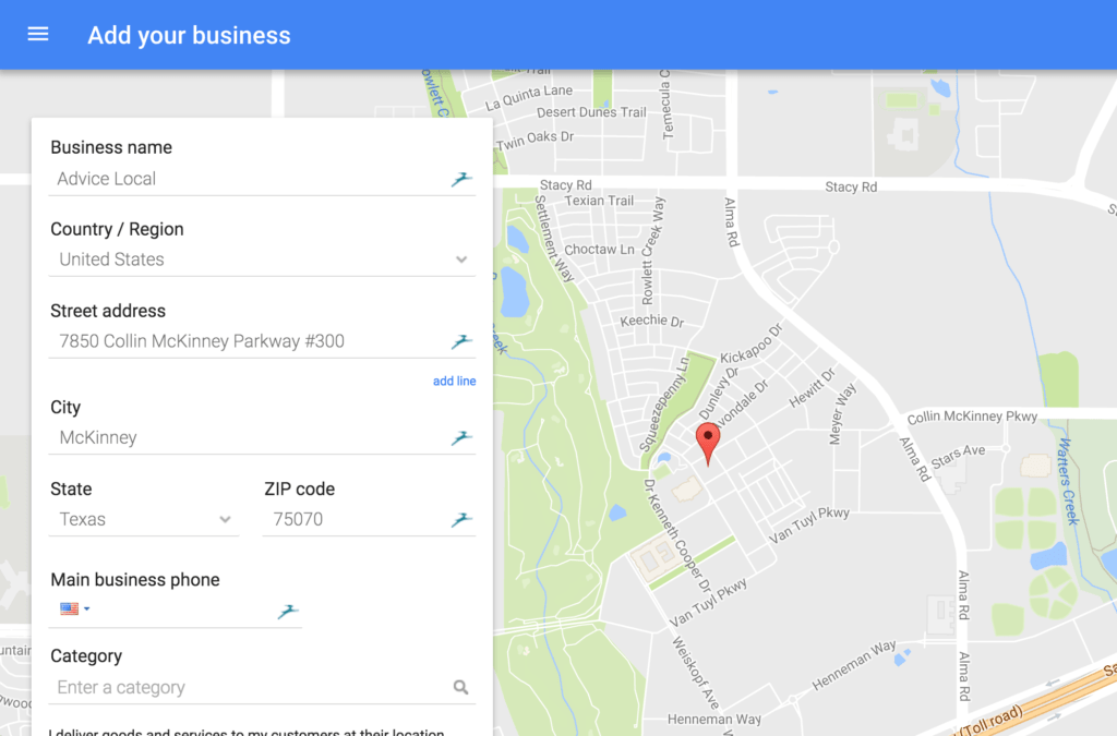 Create your business listing on google my business