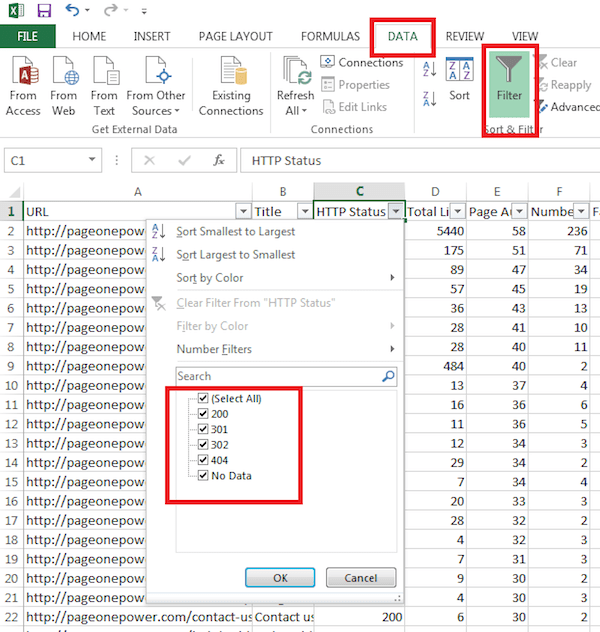 Using Data Filter, 404, 301, 302
