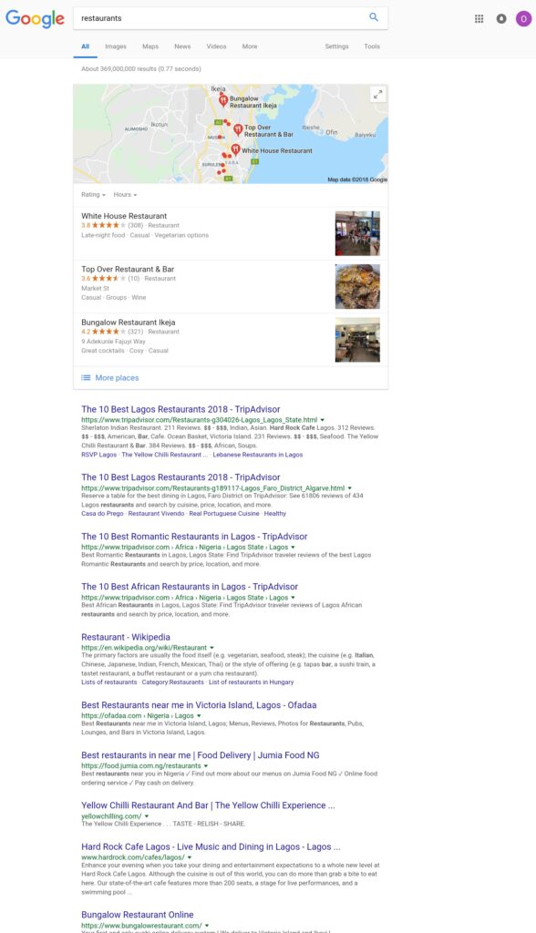 Google Map Pack Results Listing