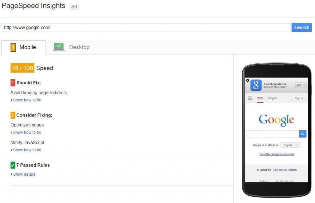 Google Page Speed Insights, test website speed and get improvement suggestions