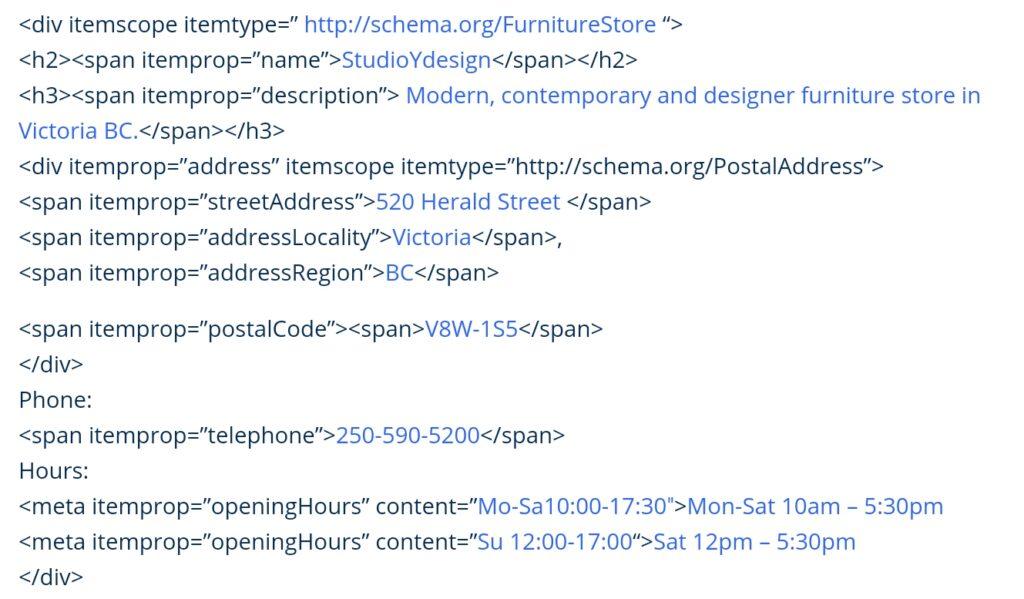 Schema Org Code Sample