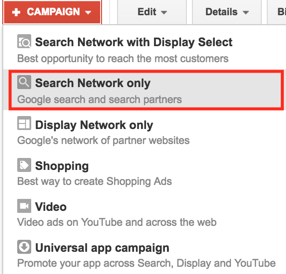 Search Network only campaign type