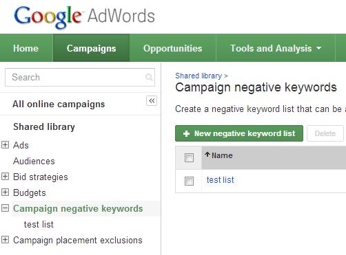 Add negative keywords