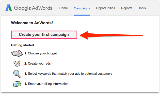 Google AdWords, creating your first campaign.