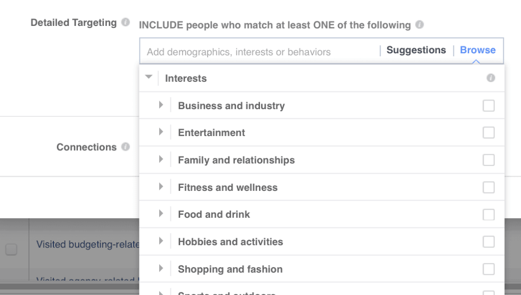 Define interests for your targeted audience