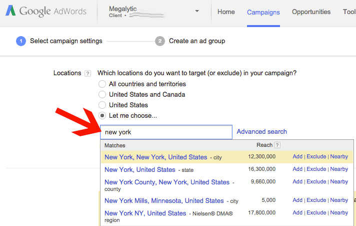 Limit your audinece targeting for certain location only