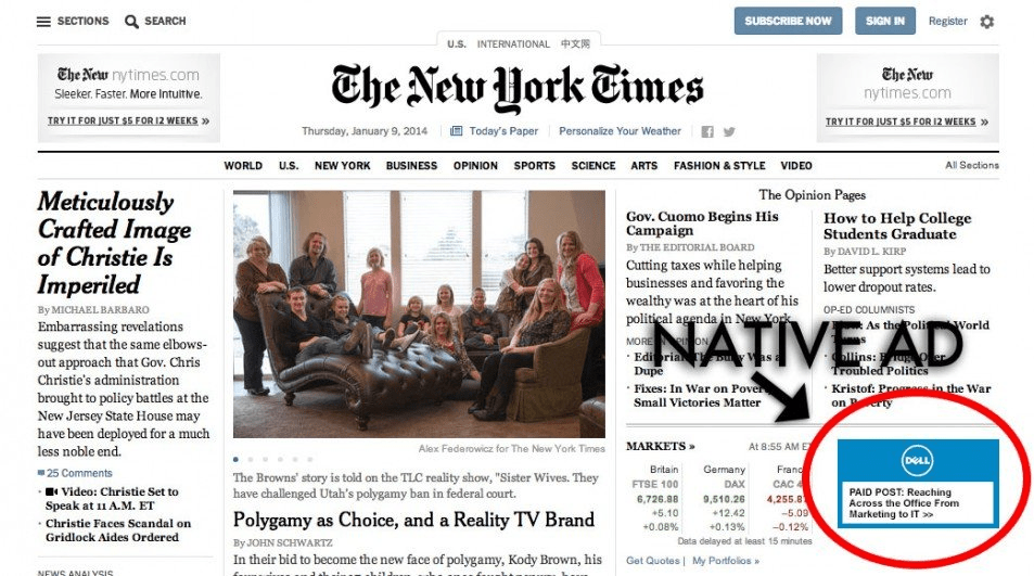 Native Ad, The New York Times example