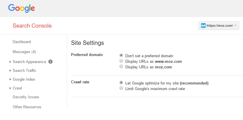 Set Up preferred version on google console, www vs non-www